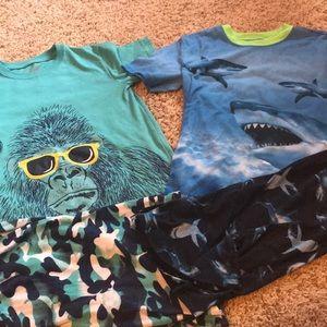 Other - Boys pajamas— gorilla set 8/10, shark set 10/12